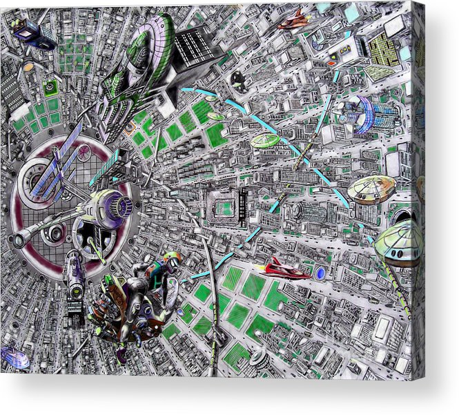 Landscape Acrylic Print featuring the drawing Inside Orbital City by Murphy Elliott