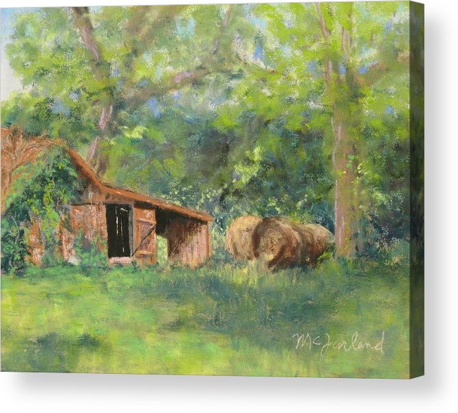 Barn Acrylic Print featuring the pastel Leftover Hay by Lorraine McFarland