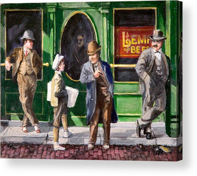 City Scenes Streetscape  Circa1900  Tavern Lempbeer Paperboy  Oldst.louis  Cobblestones Acrylic Print featuring the painting Lemp Beer by Edward Farber
