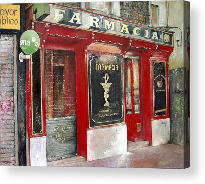 Farmacia Acrylic Print featuring the painting Old Pharmacy by Tomas Castano