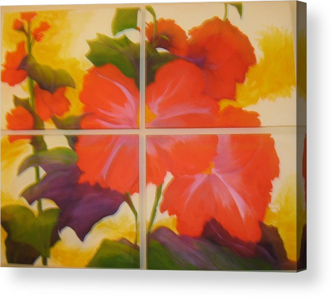 Flower On Four Canvasses Acrylic Print featuring the painting To Brighten Your Day by Sheryl Sutherland