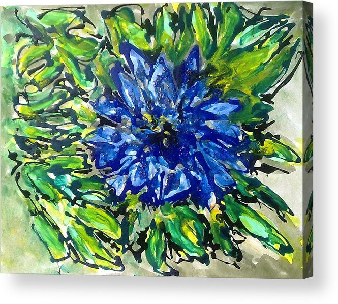 Abstract Acrylic Print featuring the painting Digital Flower Painting by Baljit Chadha