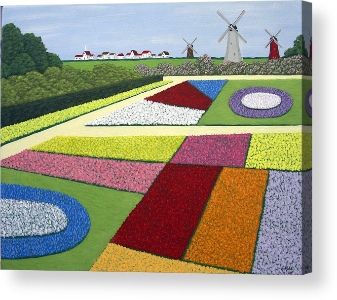 Landscape Paintings Acrylic Print featuring the painting Dutch Gardens by Frederic Kohli