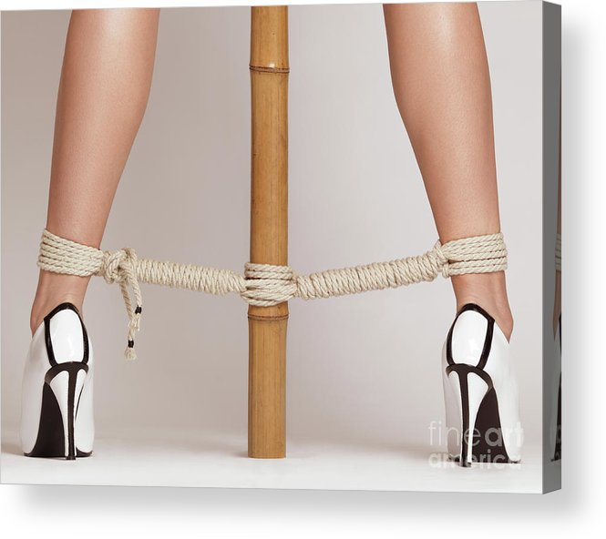 Bondage Acrylic Print featuring the photograph Woman Legs Tied With Ropes To Bamboo by Oleksiy Maksymenko