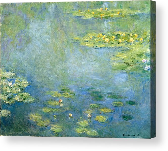Claude Monet Acrylic Print featuring the painting Waterlilies by Claude Monet