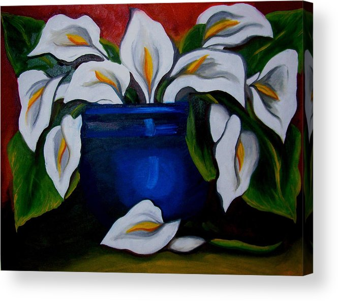 Calla Lilies In Blue Pot Acrylic Print featuring the painting Calla Lilies by Misty VanPool