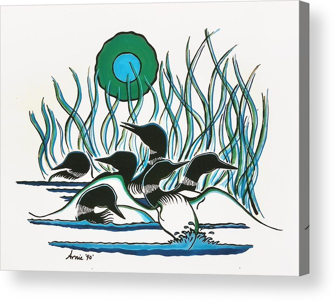 Loons Acrylic Print featuring the painting A Family Of Loons by Arnold Isbister