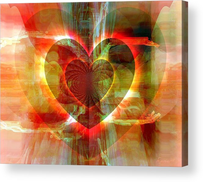 Fania Simon Acrylic Print featuring the digital art A Forgiving Heart by Fania Simon