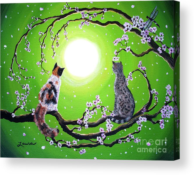 Zen Acrylic Print featuring the painting Abby And Caesar In The Spring by Laura Iverson