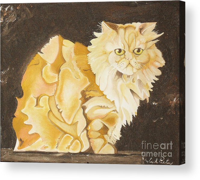 Cat Acrylic Print featuring the painting Abstract Cat by Joseph Palotas