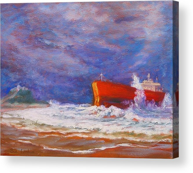 Pasha Bulker Tanker Stranded On Nobby Acrylic Print featuring the painting After The Storm by Sue Linton