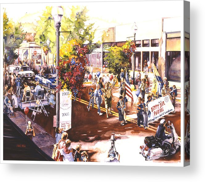 Parade Flags Old Glory Cub Boy Scouts Police Teddy Bear Celebration Patriotic Americana Acrylic Print featuring the painting America At Its Best by Mike Hill