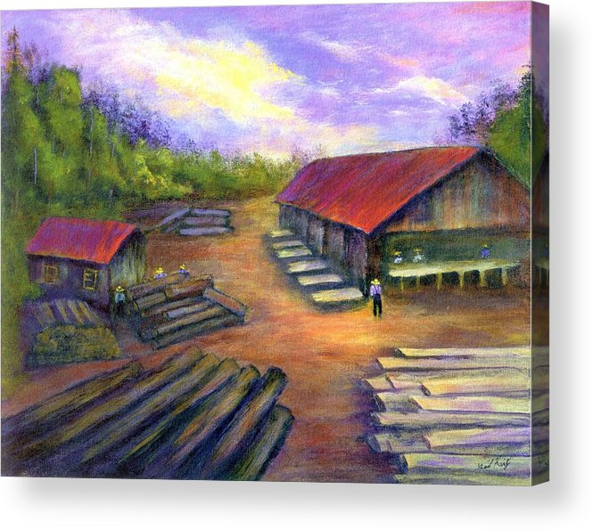 Amish Acrylic Print featuring the painting Amish Lumbermill by Gail Kirtz