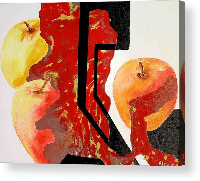 Apples Acrylic Print featuring the painting Apple Fantasy by Evguenia Men