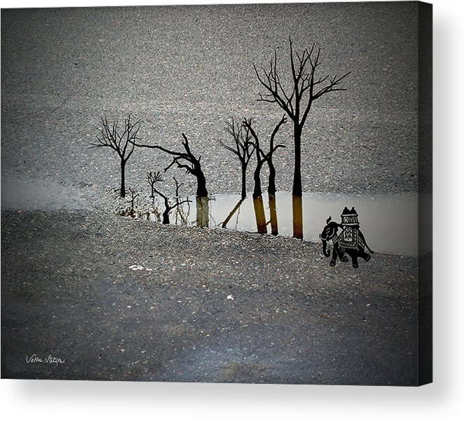 Rain Acrylic Print featuring the digital art Asphalt Oasis by Sabine Stetson