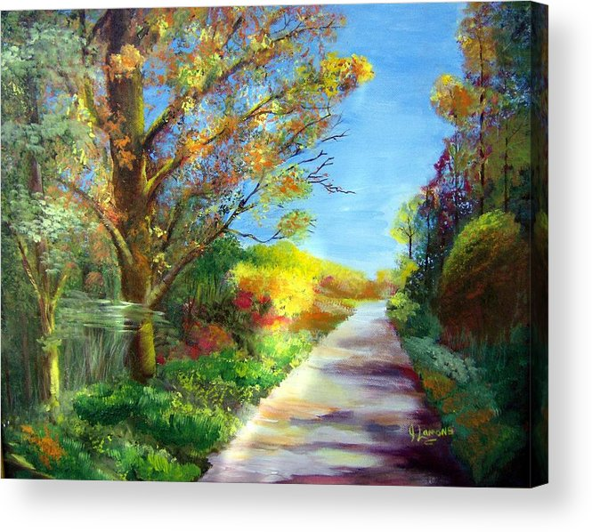 Landscape Acrylic Print featuring the painting Autumn Roads by Julie Lamons