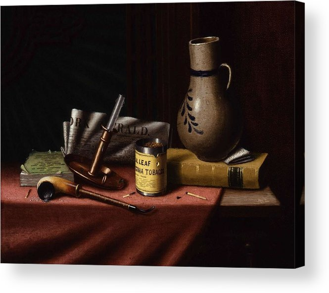 Art Acrylic Print featuring the painting Bachelor S Table By William Michael Harnett by William Michael Harnett