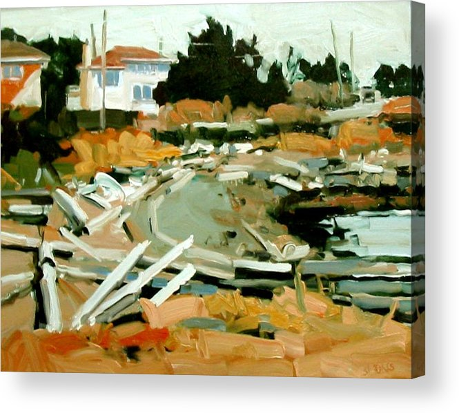 Beach Paintings Acrylic Print featuring the painting Beach Frontage by Brian Simons