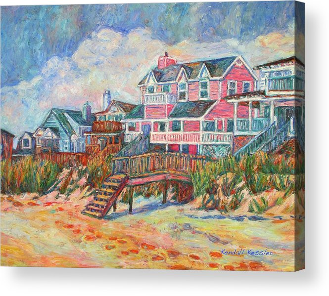 Landscape Acrylic Print featuring the painting Beach Houses At Pawleys Island by Kendall Kessler