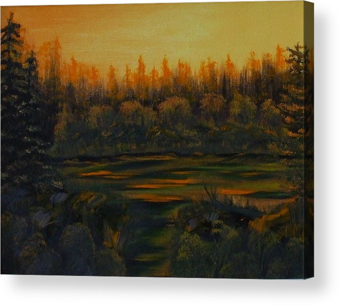 Landscape Acrylic Print featuring the painting Beaver Pond At Sunset by Rebecca Fitchett
