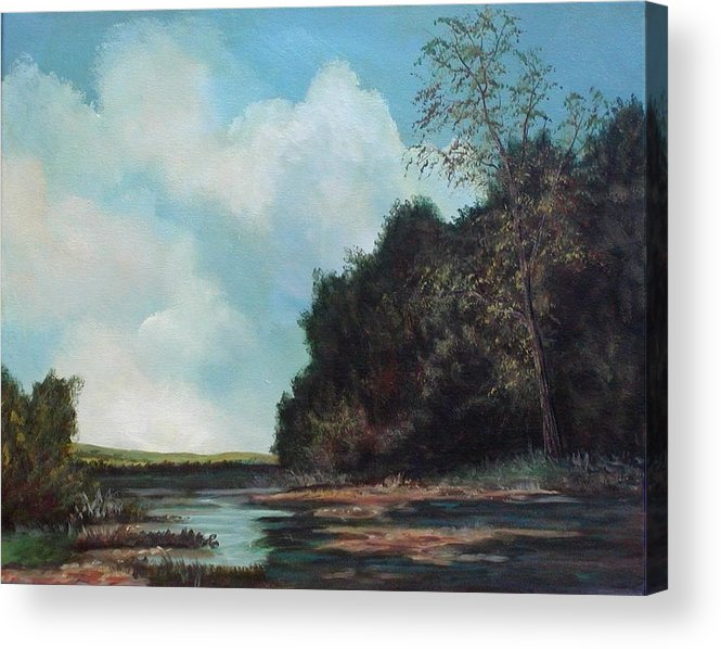 Original Acrylic Landscape On Canvas Acrylic Print featuring the painting Beside Still Waters by Sharon Steinhaus