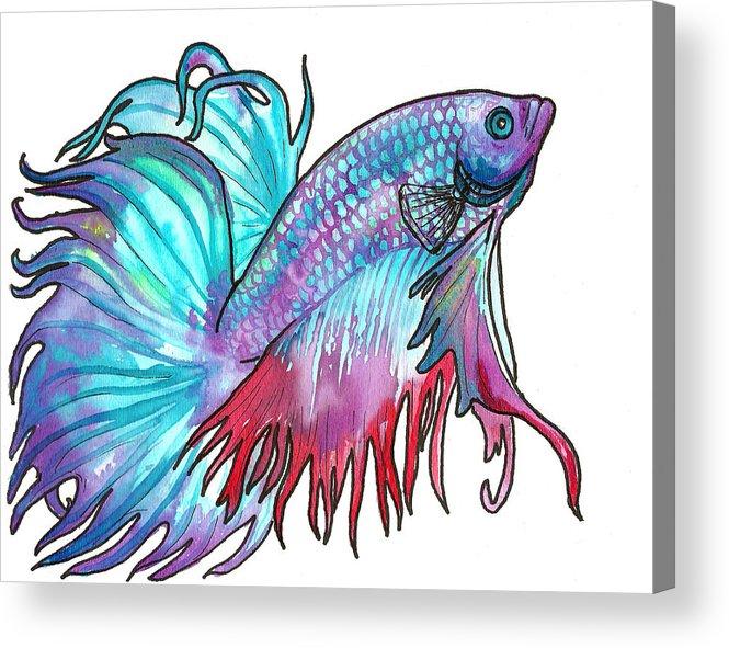 Fish Acrylic Print featuring the painting Betta Fish by Jenn Cunningham
