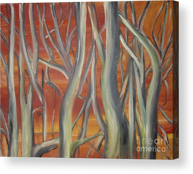 Trees Forest Original Painting Abstract Acrylic Print featuring the painting Beyond by Leila Atkinson