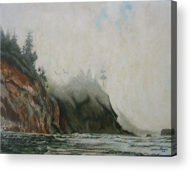 Fog Shrouded Mountains And Water Acrylic Print featuring the painting Big Sur by Howard Stroman