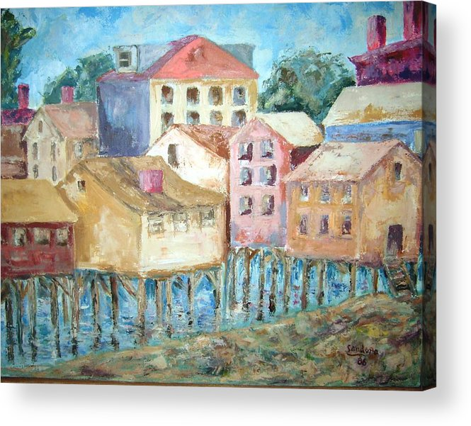 Landscape Bldgs Water Acrylic Print featuring the painting Bldgs In Boothbay Harbor by Joseph Sandora Jr