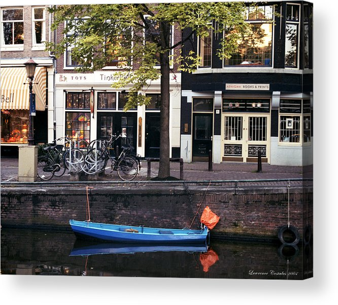 Amsterdam Acrylic Print featuring the photograph Blu Boat by Lawrence Costales