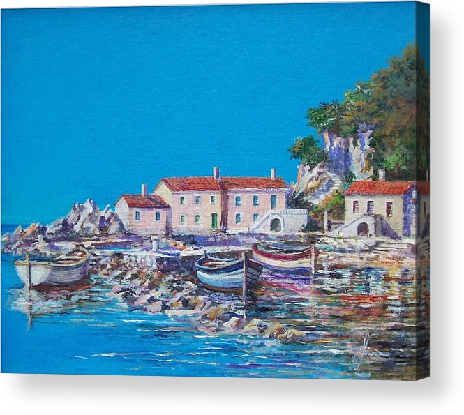 Original Painting Acrylic Print featuring the painting Blue Bay by Sinisa Saratlic