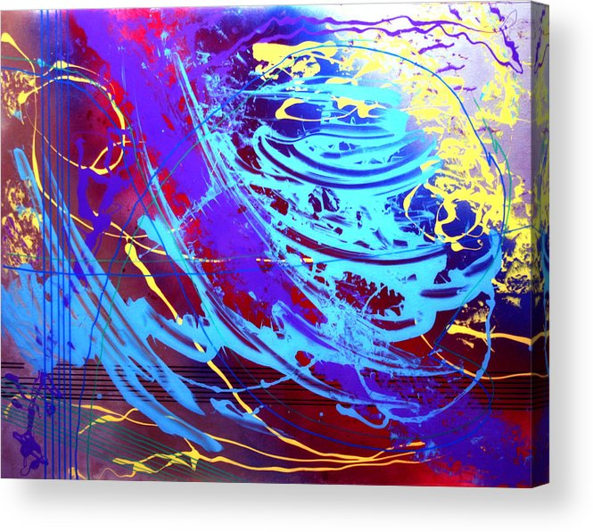 Abstract Acrylic Print featuring the painting Blue Reverie by Mordecai Colodner