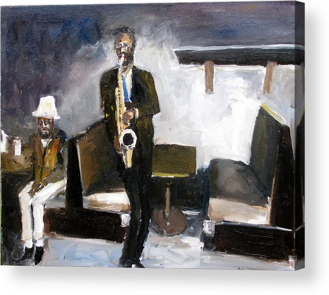 Blues Jazz Music People Oil Paintings Acrylic Print featuring the painting Blues Night by Udi Peled