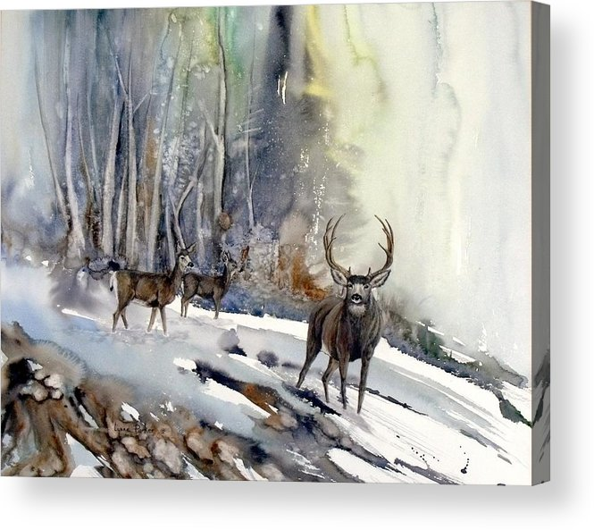 Mule Deer Acrylic Print featuring the painting Boone And Crockett by Lynne Parker