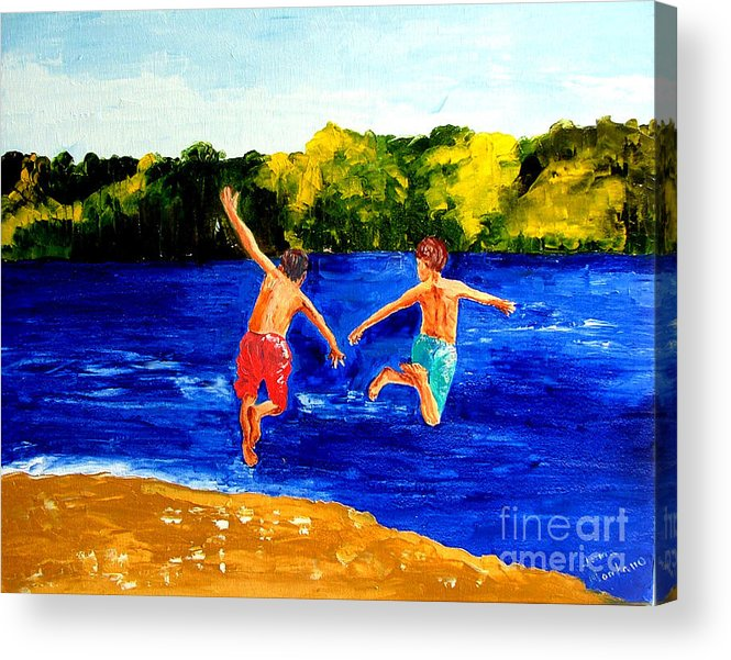 Boys Acrylic Print featuring the painting Boys By The River by Inna Montano
