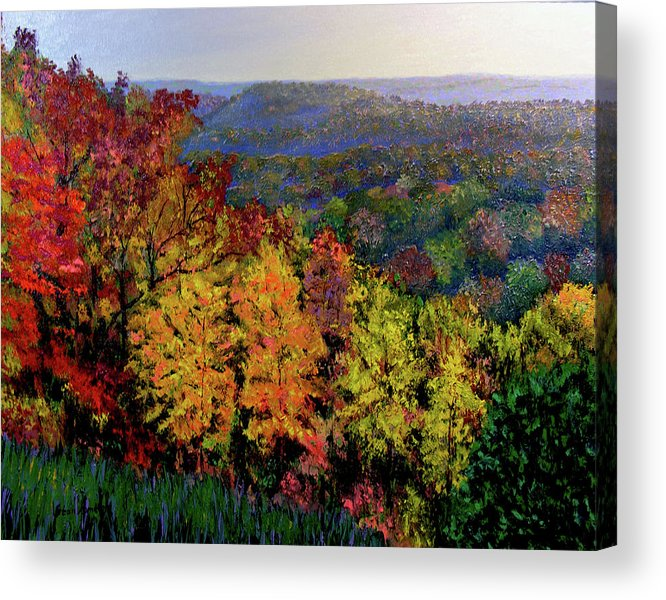 Landscape Acrylic Print featuring the painting Brown County Autumn by Stan Hamilton