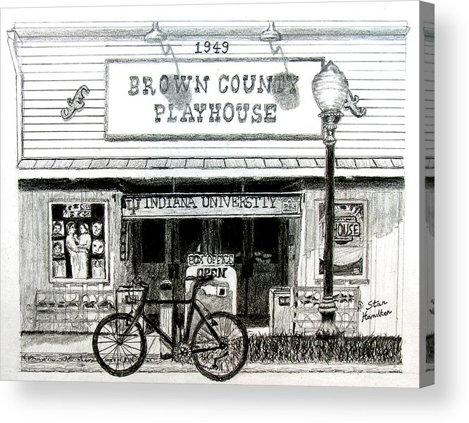 Graphite Acrylic Print featuring the drawing Brown County Playhouse by Stan Hamilton