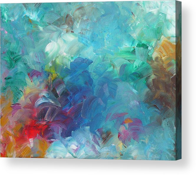 Abstract Acrylic Print featuring the painting Busy Day by Peggy King