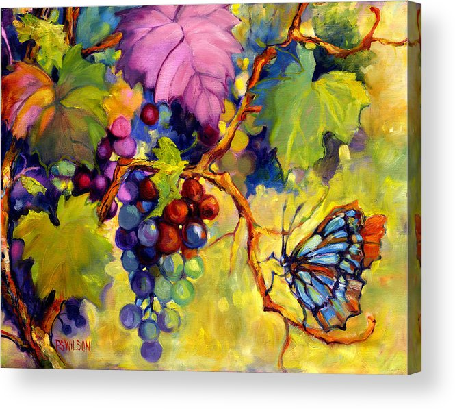 Butterfly Acrylic Print featuring the painting Butterfly And Grapes by Peggy Wilson