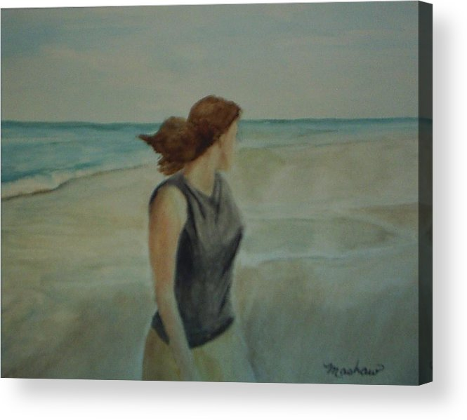 Ocean Acrylic Print featuring the painting By The Sea by Sheila Mashaw