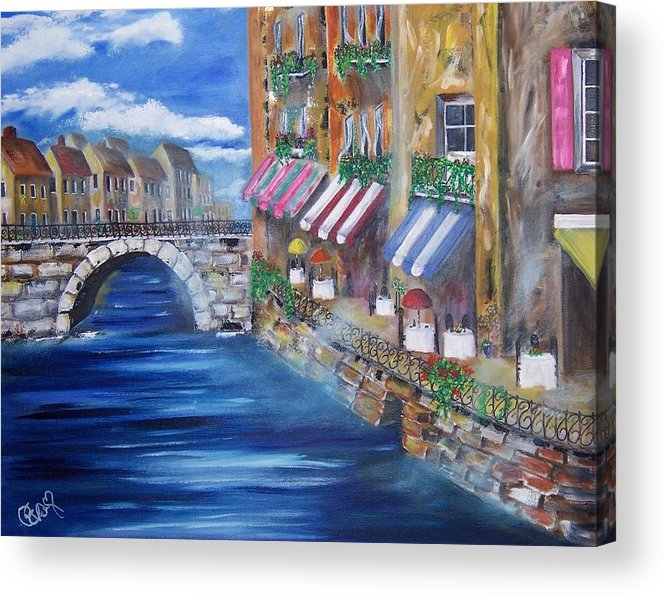 Landscape Acrylic Print featuring the painting Cafe Walk by Penny Everhart