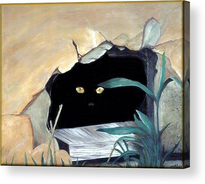 Cats Acrylic Print featuring the painting Can't See Me by Merle Blair