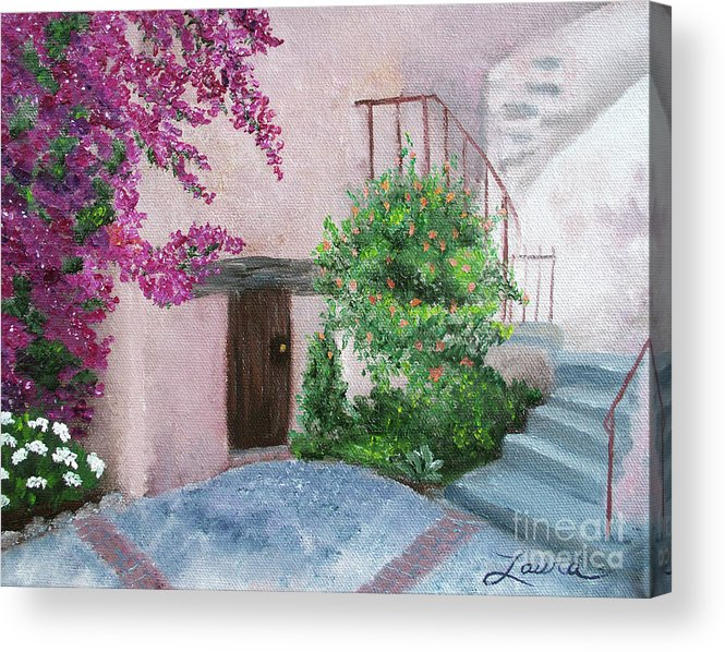California Acrylic Print featuring the painting Carmel Mission Side Door by Laura Iverson