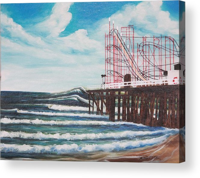 Surf Acrylic Print featuring the painting Casino Pier N.j. by Ronnie Jackson