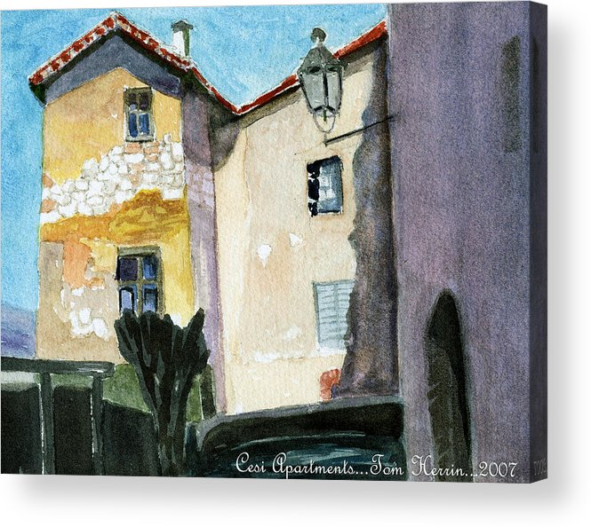 Italy Acrylic Print featuring the painting Cesi Apartments Italy by Tom Herrin