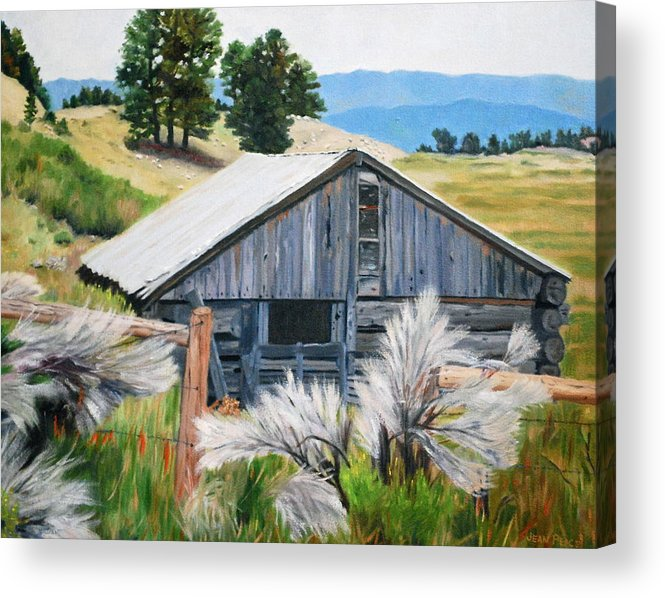 Barn Acrylic Print featuring the painting Chama Valley Barn by Jean Peace