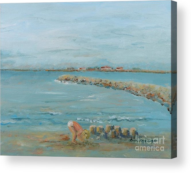Beach Acrylic Print featuring the painting Child Playing At Provence Beach by Nadine Rippelmeyer