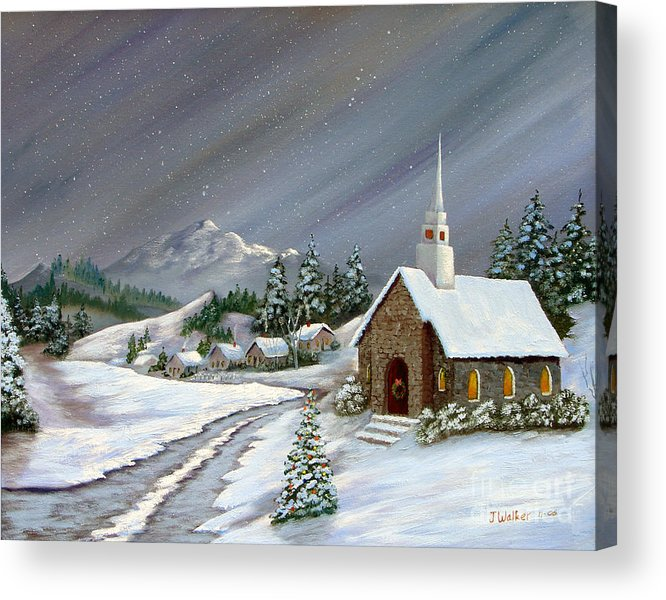 Church Acrylic Print featuring the painting Christmas Church by Jerry Walker