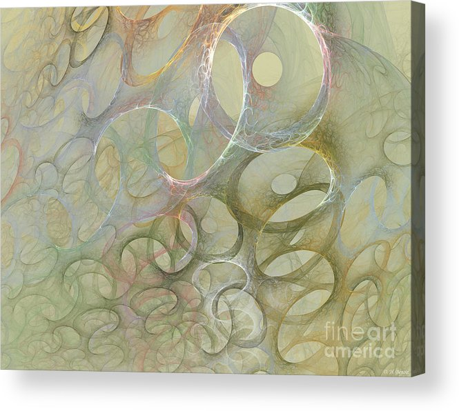 Fractal Acrylic Print featuring the digital art Circles In Circles by Deborah Benoit