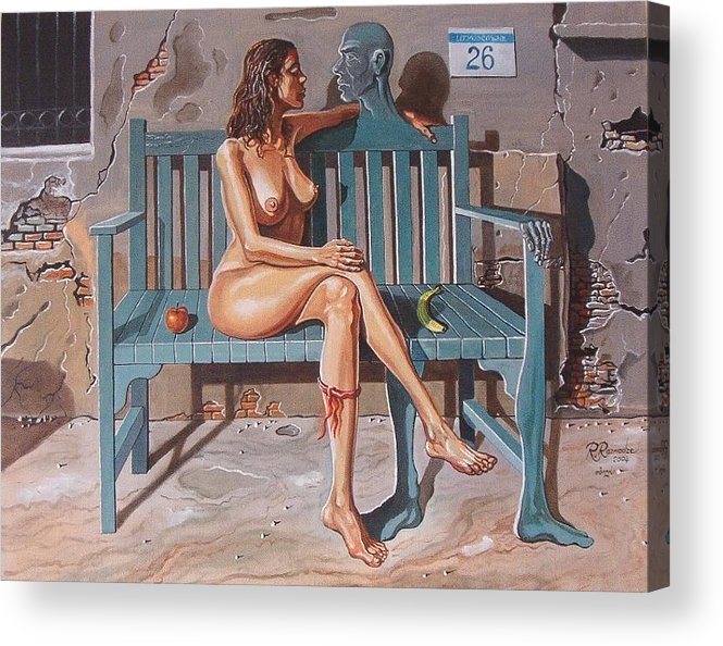 Surreal Acrylic Print featuring the painting Clandestine Libido by Ramaz Razmadze